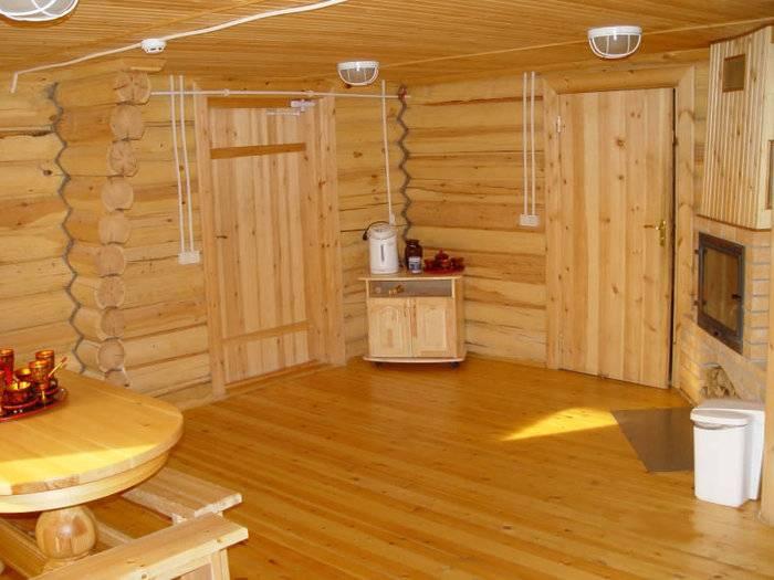 В бане красивый деревянный пол