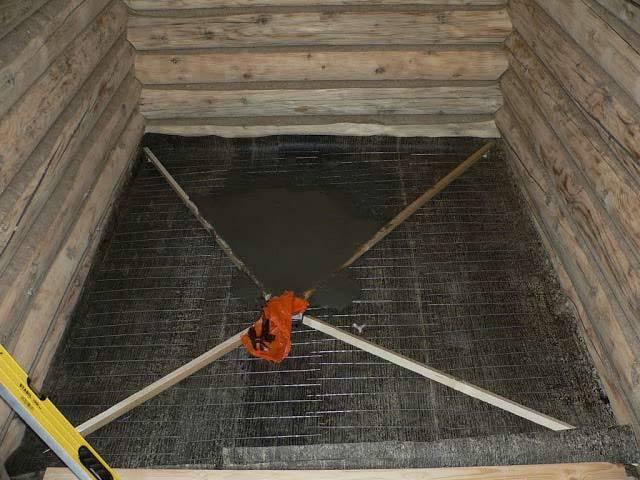 В бане заливаем бетон